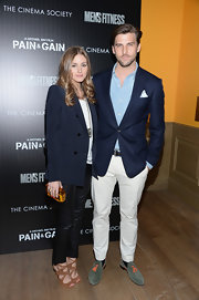 Johannes Huebl chose a classic navy blazer for his look at the screening of 'Pain and Gain.'