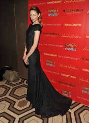 Analeigh Tipton looked divine at the 'Damsel in Distress' screening wearing this glimmering black gown with a train.