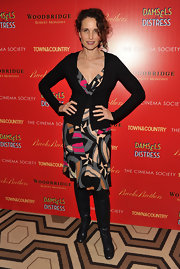 Andie MacDowell went the low-key route at the 'Damsel in Distress' screening in this patterned dress and cardigan.
