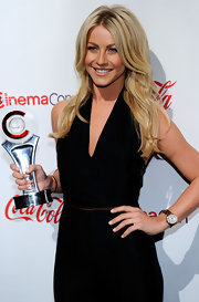 Julianne Hough styled her golden locks in a center part hairstyle complete with loose curls.