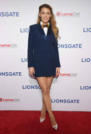 Blake Lively joined CinemaCon 2018 wearing a navy tuxedo dress by Sonia Rykiel.