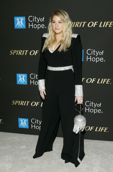 More Pics of Meghan Trainor Beaded Purse (1 of 12) - Evening Bags Lookbook - StyleBistro [clothing,fashion,dress,premiere,carpet,suit,shoulder,formal wear,event,tuxedo,meghan trainor,spirit of life 2019 gala - arrivals,spirit of life 2019 gala,santa monica,california,the barker hanger,city of hope]