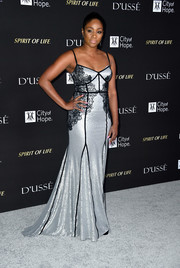 Tiffany Haddish got glam in a silver sequined gown with black lace accents for the City of Hope Gala.