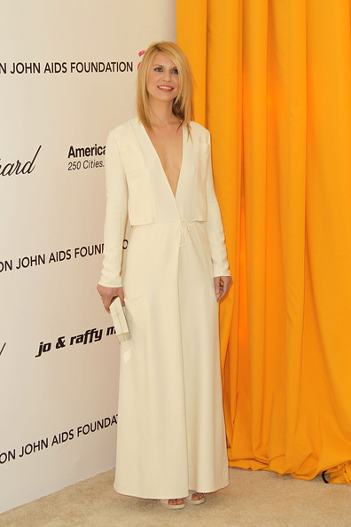 Claire Danes Evening Dress [clothing,dress,yellow,fashion,formal wear,shoulder,gown,neck,outerwear,haute couture,arrivals,claire danes,oscar,west hollywood,california,pacific design center,elton john aids foundation,oscar viewing party,viewing party]