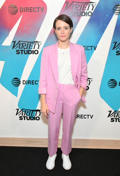 Claire Foy Leather Sneakers [pink,flooring,suit,fashion,carpet,outerwear,red carpet,magenta,product,formal wear,claire foy,momofuku toronto,canada,directv house,at t,directv,toronto international film festival]