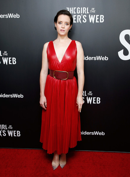 Claire Foy Leather Dress [the girl in the spiders web,dress,clothing,cocktail dress,red carpet,carpet,fashion model,red,shoulder,premiere,a-line,claire foy,new york,henry luce theater,screening]