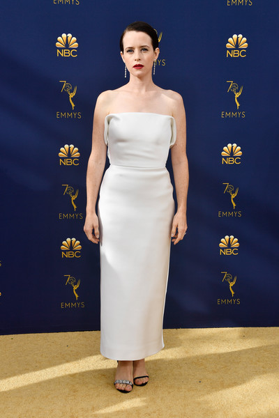 Claire Foy Strapless Dress [fashion model,gown,flooring,dress,shoulder,carpet,cocktail dress,fashion,catwalk,red carpet,arrivals,claire foy,emmy awards,70th emmy awards,microsoft theater,los angeles,california]