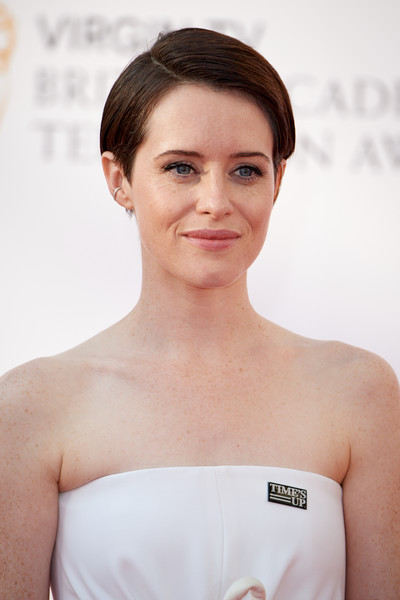 Claire Foy Short Side Part [face,hair,white,skin,shoulder,beauty,chin,eyebrow,hairstyle,head,red carpet arrivals,claire foy,england,london,the royal festival hall,virgin tv,bafta television awards]