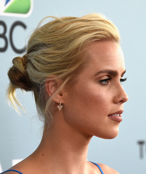 Claire Holt Twisted Bun [aquarius,season,hair,chin,hairstyle,blond,beauty,eyebrow,forehead,neck,long hair,hair coloring,arrivals,claire holt,beverly hills,california,the paley center for media,nbc,premiere]