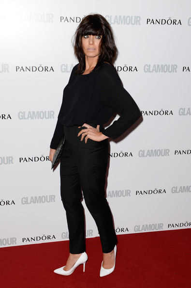 Claudia Winkleman Skinny Pants [arrivals,claudia winkleman,clothing,shoulder,carpet,red carpet,footwear,fashion,leg,joint,waist,long hair,glamour women of the year awards,england,london,berkeley square gardens]