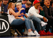 Miley Cyrus put on her Nike Air Force 1 Ultra Flyknit sneakers to watch a game between the New York Knicks and the Cleveland Cavaliers.