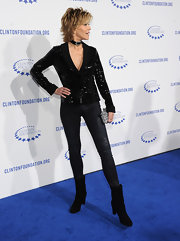 Jane Fonda donned a sequined blazer and skinny jeans for a stand-out look at the Decade of Difference Gala.