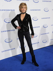Jane Fonda showed off her impossible figure in a pair of metallic skinny jeans at the Decade of Difference Gala.