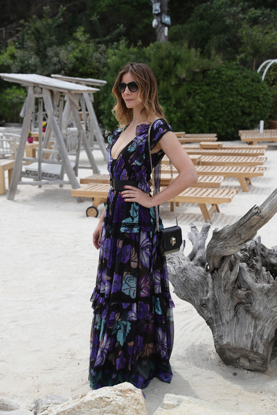 Clotilde Courau Print Dress [clothing,purple,lady,fashion,dress,photography,long hair,costume,fashion design,fawn,madame figaro,clotilde courau,kering women,motion lunch,cannes,france,kering women in motion,lunch]