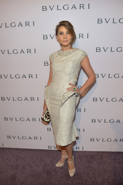 Clotilde Courau Pumps [clothing,dress,shoulder,cocktail dress,fashion,fashion design,hairstyle,joint,fashion model,waist,red carpet,jewelry,elizabeth taylor,bvlgari celebrates,clotilde courau,collection,california,los angeles,magnificent collection of bvlgari,celebration]