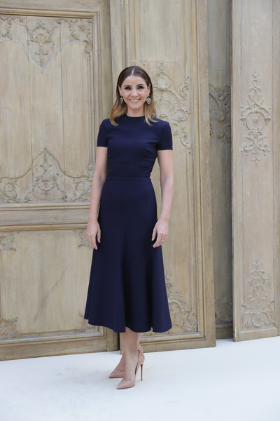 Clotilde Courau Pumps [valentino : outside photocall,clothing,dress,fashion model,bridal party dress,shoulder,cobalt blue,cocktail dress,lady,formal wear,fashion,valentino,clotilde courau,part,paris,france,paris fashion week womenswear spring,show]