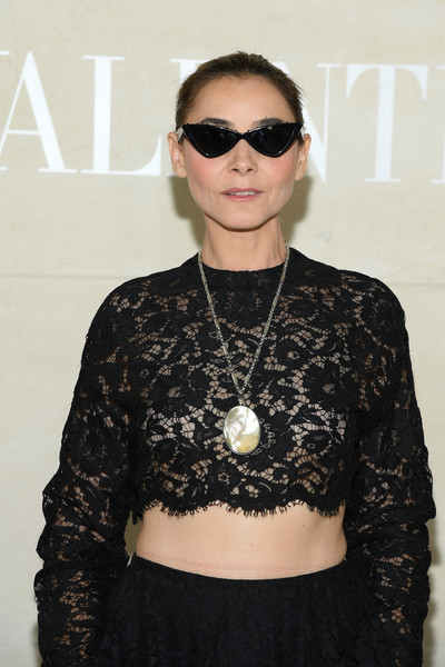 Clotilde Courau Oversized Pendant Necklace [haute couture fall,eyewear,hair,clothing,fashion,sunglasses,hairstyle,cool,glasses,vision care,neck,valentino,clotilde courau,front row,part,paris,france,valentino haute couture fall,paris fashion week,show]