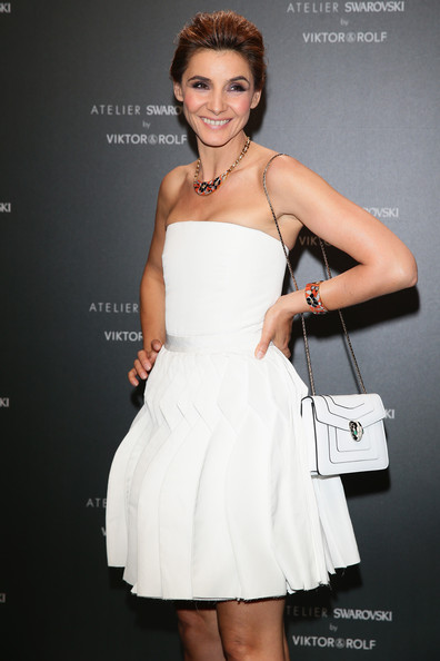 Clotilde Courau Chain Strap Bag [dress,clothing,cocktail dress,shoulder,fashion model,strapless dress,beauty,hairstyle,fashion,arm,clotilde courau,swarovski,cannes,france,viktor rolf,party,party,cannes film festival]