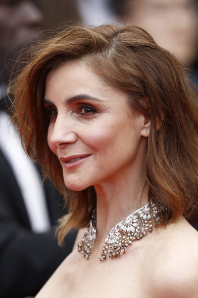 Clotilde Courau Diamond Statement Necklace [red carpet - the 72nd annual cannes film festival,hair,face,hairstyle,eyebrow,lady,beauty,chin,brown hair,skin,blond,clotilde courau,hidden life,une vie cach\u00e9e,une vie cach\u00e3\u00a9e,screening,cannes,france,cannes film festival on may 19]