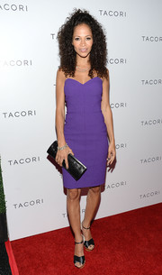 Sherri Saum showed off her super-slim figure in a strapless purple dress during the Club Tacori event.