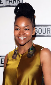 Crystal A. Dickinson attended the opening night after party for 'Clybourne Park' wearing her shiny braids in a cool voluminous updo.