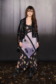 Selena Gomez was a boho cutie in a handkerchief-hem floral dress by Coach during the brand's Fall 2018 show.