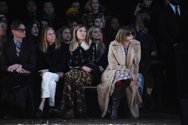 More Pics of Anna Wintour Fur Coat (1 of 2) - Outerwear Lookbook - StyleBistro [fall 2018 runway show,fashion,event,fashion design,audience,performance,stage,dress,night,photography,coach,hamish bowles,anna wintour,virginia smith,tonne goodman,l-r,new york city,basketball city]