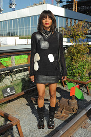 Ciara rocked a mixed-material patchwork sweater by Coach during the label's fashion show.
