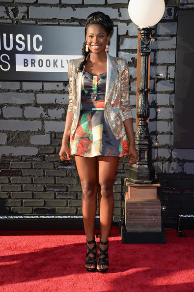 Coco Jones Mini Skirt [fashion,clothing,carpet,red carpet,fashion model,fashion show,beauty,fashion design,footwear,leg,arrivals,coco jones,2013 mtv video music awards,borough,barclays center,brooklyn,new york city]