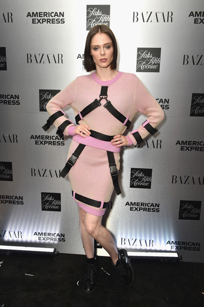 Coco Rocha Mini Skirt [the launch,clothing,shoulder,dress,cocktail dress,joint,fashion,footwear,premiere,carpet,waist,katie holmes,glenda bailey,coco rocha,partnership,it list townhouse in partnership with american express,new york city,saks,harpers bazaar,launch]