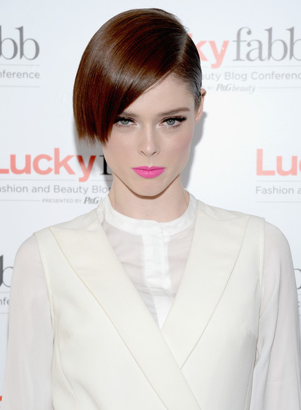 Coco Rocha Side Parted Straight Cut [hair,face,hairstyle,lip,skin,chin,beauty,eyebrow,brown hair,forehead,coco rocha,lucky fabb: fashion and beauty blog conference,beverly hills,california,sls hotel,p g]