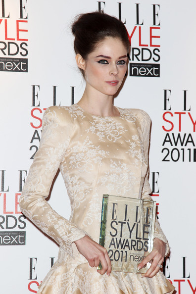 Coco Rocha Bobby Pinned Updo [hair,magazine,fashion model,hairstyle,skin,dress,fashion,fashion design,cocktail dress,beige,coco rocha,elle style awards,front,best model award,uk,the grand connaught rooms,england,boards,tabloid newspapers,winners boards]