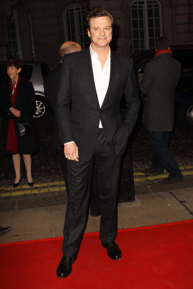 Colin Firth Men's Suit [the kings speech,suit,formal wear,red carpet,clothing,tuxedo,carpet,premiere,blazer,outerwear,flooring,colin firth,uk,england,london,the curzon mayfair,tabloid newspapers,charity screening: the kings speech - inside arrivals,charity screening]