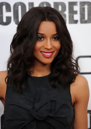 Ciara opted for a classic look while attending the 'For Colored Girls' premiere. the singer showed off a soft red lip in a matte texture.
