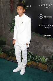 Jaden Smith kept it crisp and clean at the premiere of 'After Earth' where he wore this solid white suit and tie.