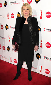 Joan wears a black evening coat with leather embellishments for the Comcast Cocktail Reception.
