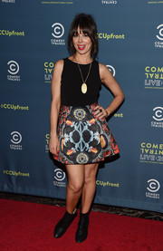 Natasha Leggero struck a pose at the Comedy Central Upfront after-party wearing a sleeveless fit-and-flare mini dress.