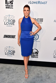 Kate Walsh teamed trendy silver Tamara Mellon sandals with a royal-blue frock for the Comedy Central Roast of Rob Lowe.