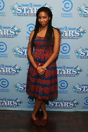 Jessica Williams rocked a blue and red printed frock while at the 'Comedy Central's' Stars Under the Stars event.