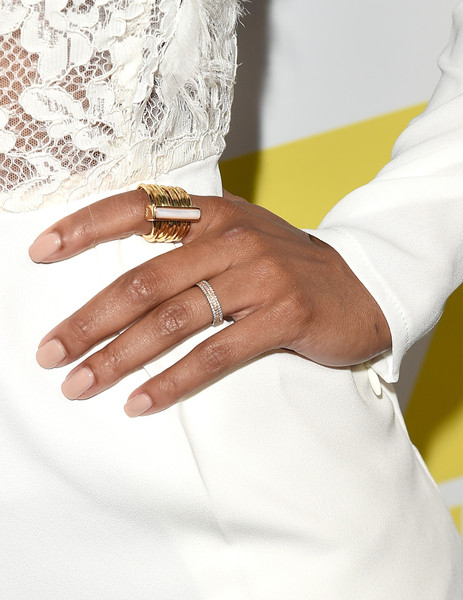More Pics of Meagan Good Jumpsuit (1 of 7) - Meagan Good Lookbook - StyleBistro [white,hand,finger,ring,nail,yellow,wedding ring,wrist,jewellery,engagement ring,arrivals,meagan good,jewelry detail,san diego,california,andaz hotel,20th century fox party,party,comic-con international 2015]