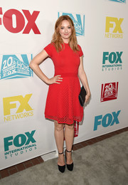 Judy Greer looked youthful and sweet in a red fit-and-flare cocktail dress during the 20th Century Fox party at Comic-Con.