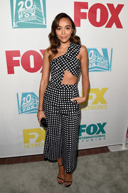 Ashley Madekwe's Self-Portrait grid-print pants and top combo was a visual explosion!