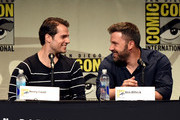 Actors Henry Cavill (L) and Ben Affleck attend the Warner Bros. presentation during Comic-Con International 2015 at the San Diego Convention Center on July 11, 2015 in San Diego, California.