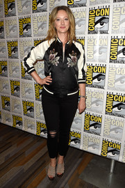 Judy Greer was sporty and sweet in a floral varsity jacket while attending Comic-Con International 2016.