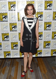Kristen Schaal went whimsical in a black-and-white coat-print dress during Comic-Con International 2016.