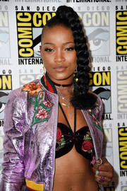 Keke Palmer rocked a floral-embroidered halter bra top by Anna Sui during Comic-Con International 2016.