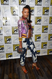 Keke Palmer was a graphic explosion in bleach-splattered boyfriend jeans by Bally teamed with a metallic bomber jacket during Comic-Con International 2016.