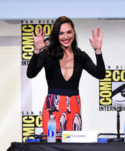 Gal Gadot took a bold plunge with this deep-V black bodysuit by Solace London for Comic-Con International 2016.