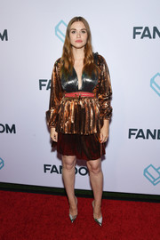 Holland Roden shimmered in a metallic cocktail dress at the Comic-Con International 2018 Fandom Party.