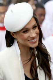Meghan Markle attended the Commonwealth Day service and reception wearing a cute white beret by Stephen Jones.